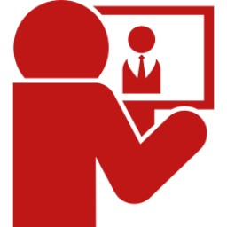 Computer-worker-on-back-view icon